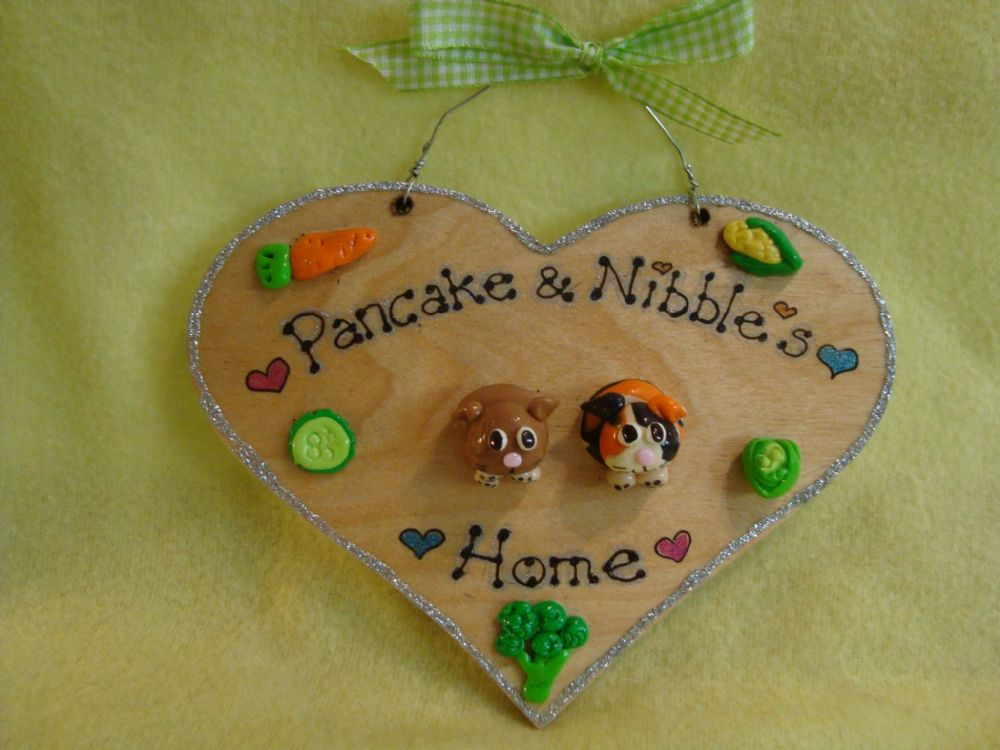 2 character 3d Guinea Pig Heart Hutch Run Room Home Sweet Home House Cage Personalised Plaque Sign Any Colour Pet  cavies (1)